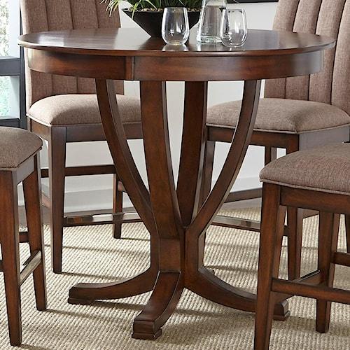 Liberty Furniture Mirage Dining Round Gathering Table with Pedestal Base