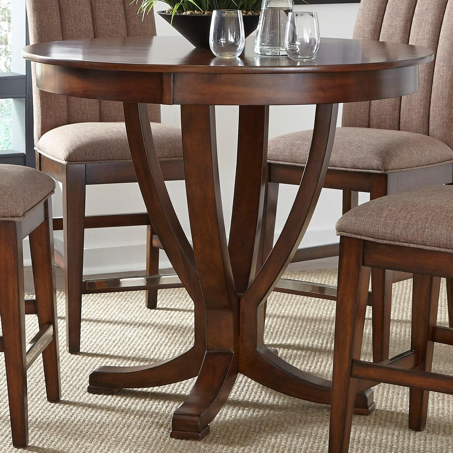 Liberty Furniture Mirage Dining Round Gathering Table With Pedestal Base