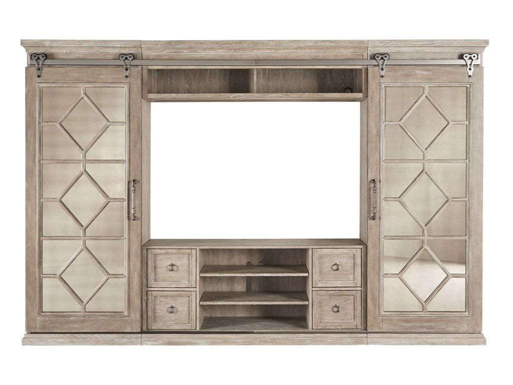 Liberty Furniture Mirrored ReflectionsEntertainment Center with Piers