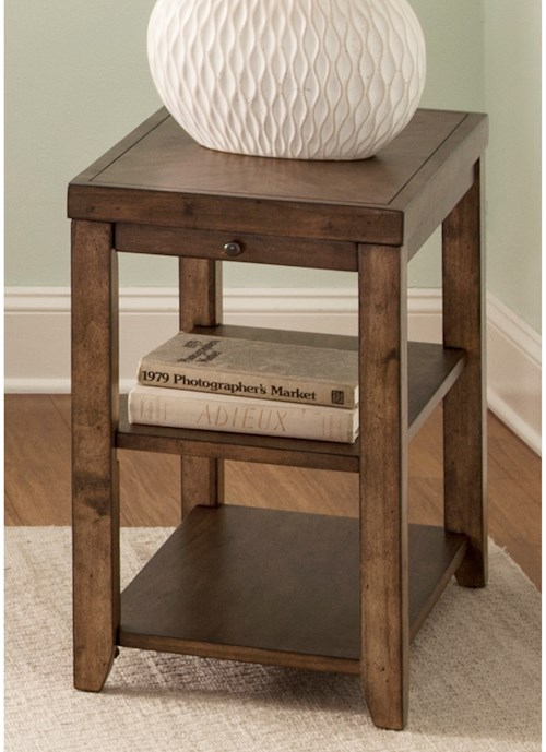 Liberty Furniture Mitchell Occasional Contemporary Chairside Table with Pull-Out Shelf