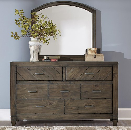 Liberty Furniture Modern Country Casual Rustic 7 Drawer Dresser and Mirror