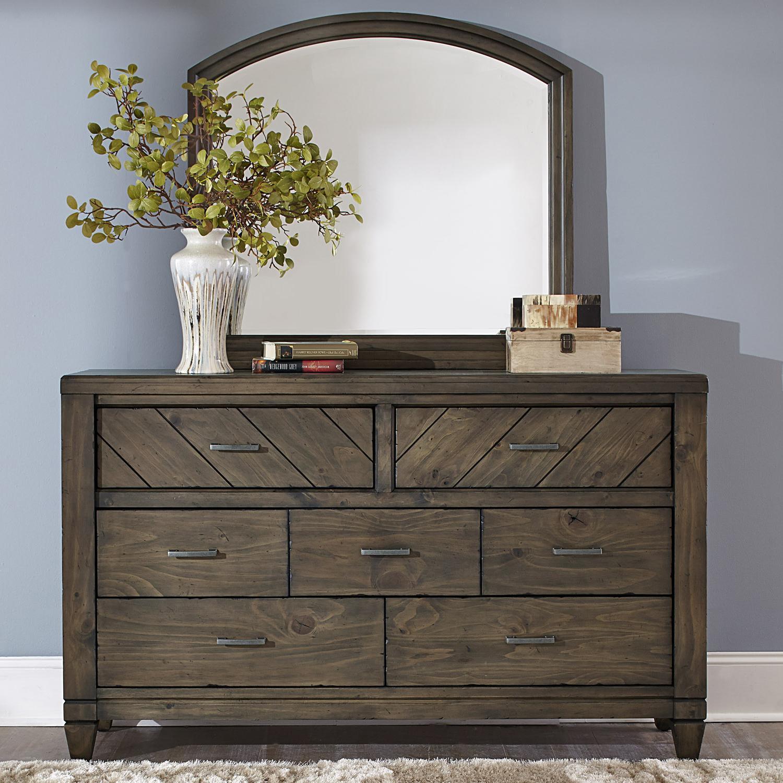 Liberty Furniture Modern Country Casual Rustic 7 Drawer Dresser And Mirror    Darvin Furniture   Dresser U0026 Mirror