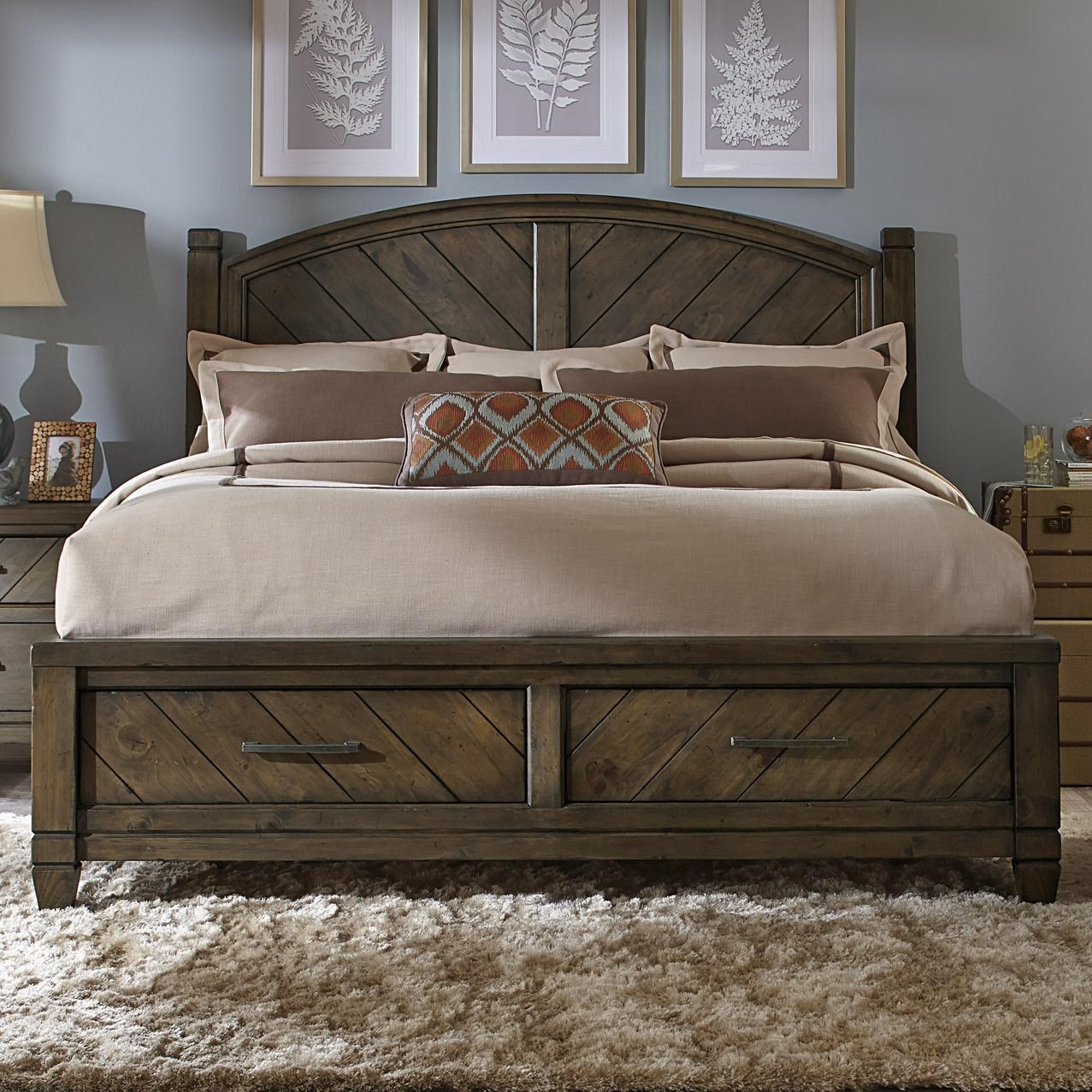 Liberty Furniture Modern Country Casual Rustic King Bed With Storage  Footboard