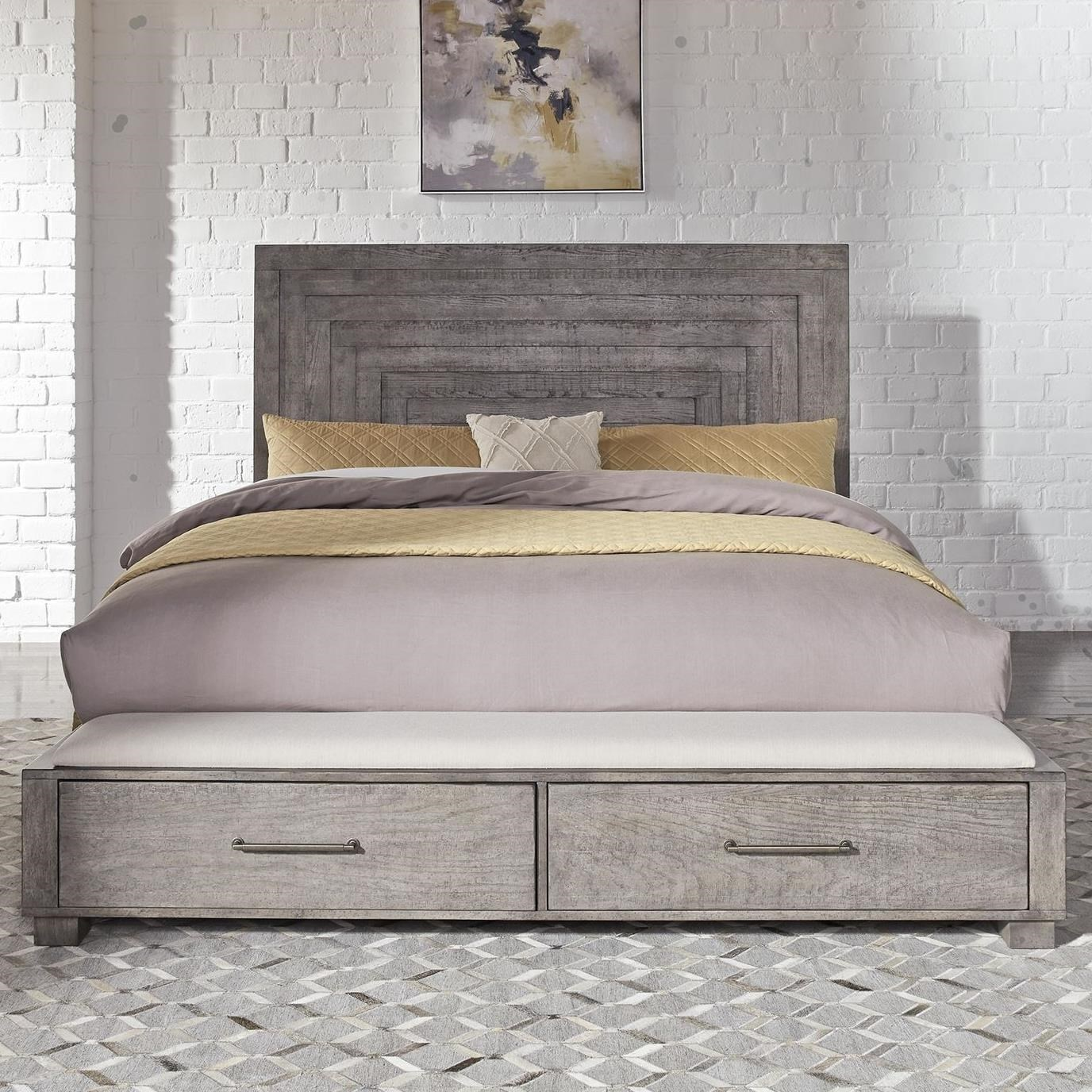 Picture of: Liberty Furniture Modern Farmhouse 406 Br Ksb Contemporary King Storage Bed With 2 Footboard Drawers Thornton Furniture Platform Beds Low Profile Beds