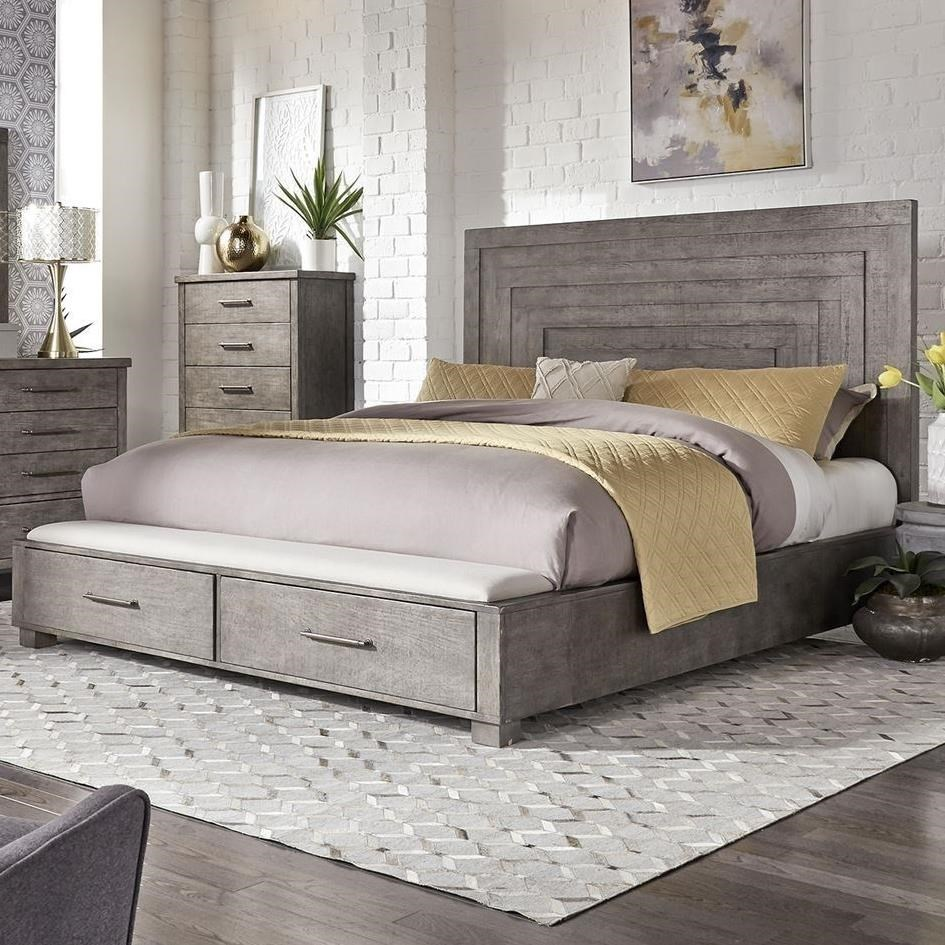 Picture of: Liberty Furniture Modern Farmhouse Contemporary King Storage Bed With 2 Footboard Drawers Wayside Furniture Platform Beds Low Profile Beds