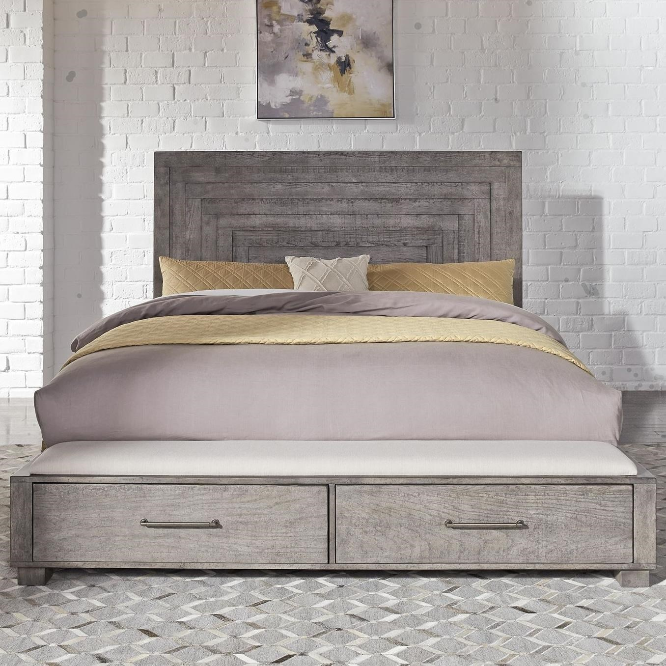 Liberty Furniture Modern Farmhouse Contemporary Queen Storage Bed With 2 Footboard Drawers Howell Furniture Platform Beds Low Profile Beds