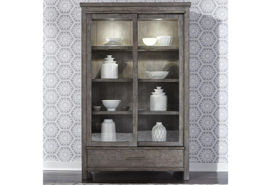Liberty Furniture Modern Farmhouse 406 Ch4877 Contemporary 2 Door Display Cabinet With Interior Lighting Hudson S Furniture China Cabinets