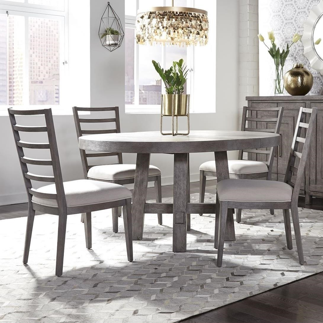 Picture of: Liberty Furniture Modern Farmhouse 5 Piece Round Table And Chair Set Royal Furniture Dining 5 Piece Sets
