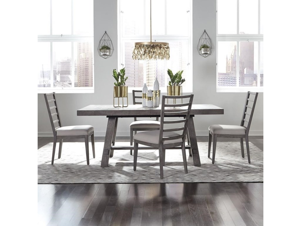 Liberty Furniture Modern Farmhouse5-Piece Trestle Table and Chair Set