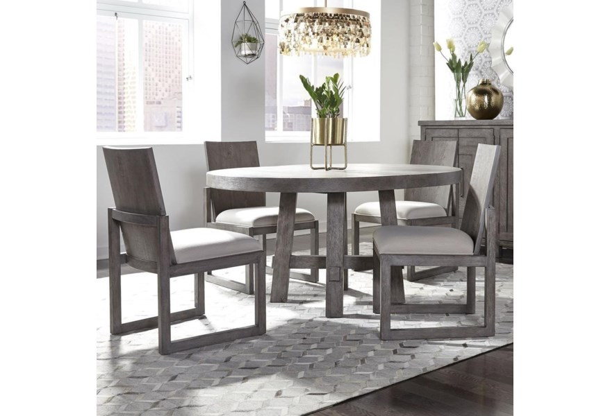 Modern Farmhouse 5 Piece Round Table And Chair Set