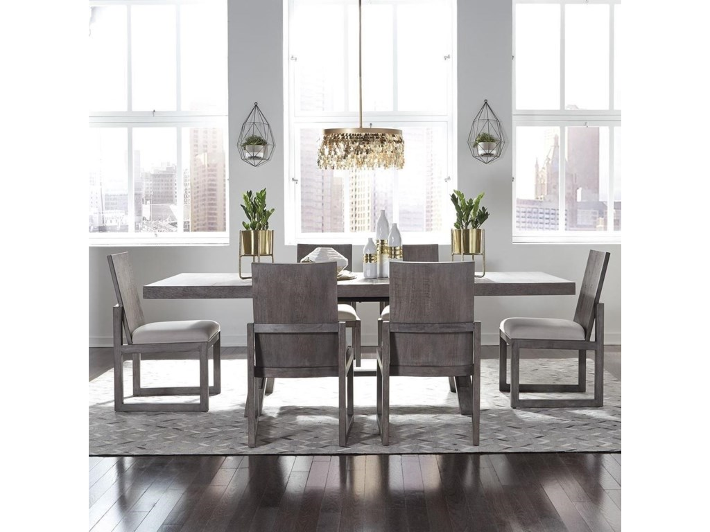 Liberty Furniture Modern Farmhouse 9 Piece Trestle Table and Chair ...