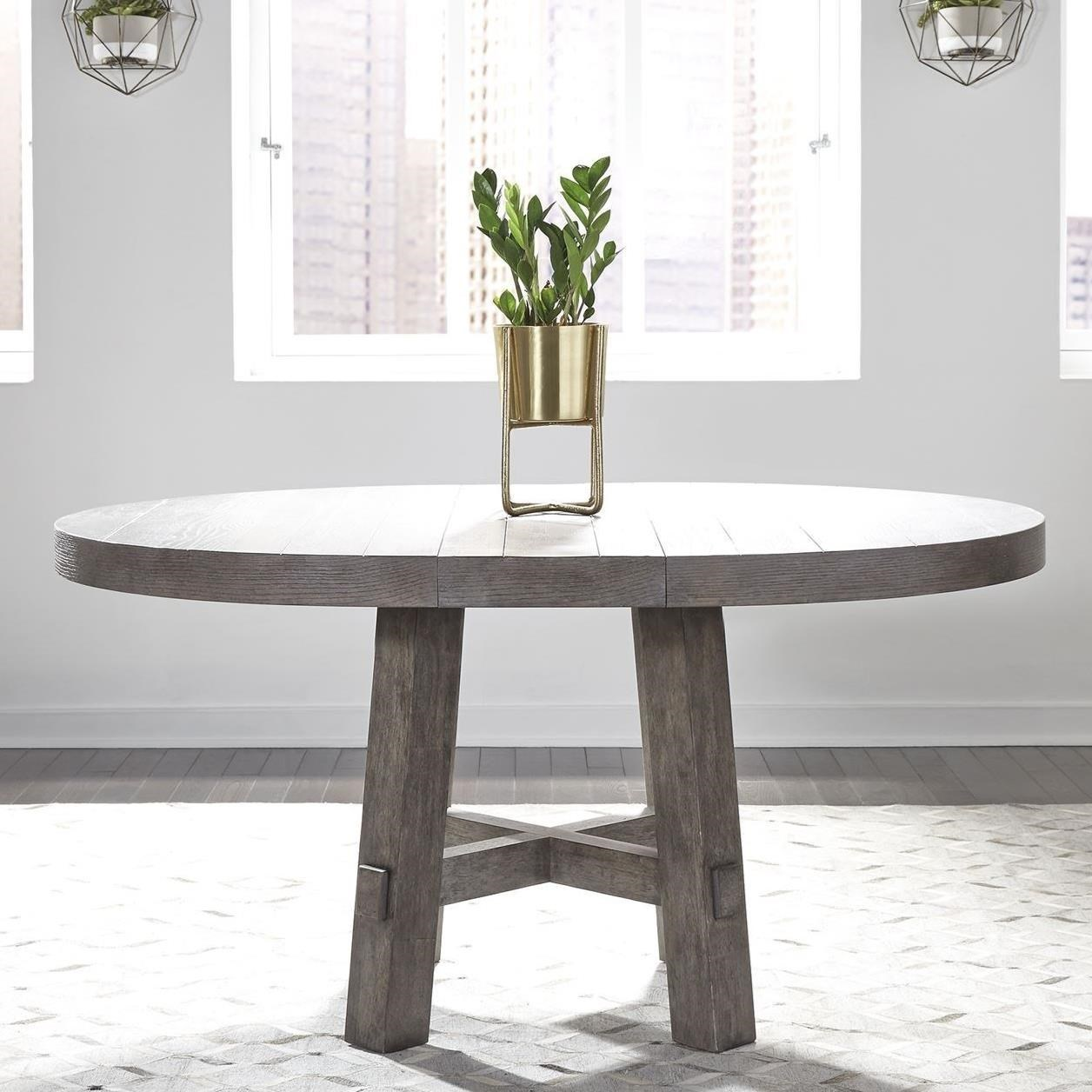 """Contemporary Round Dining Table with 12"""" Removable Leaf"""