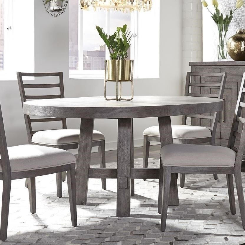 Picture of: Liberty Furniture Modern Farmhouse Contemporary Round Dining Table With 12 Removable Leaf Wayside Furniture Kitchen Tables