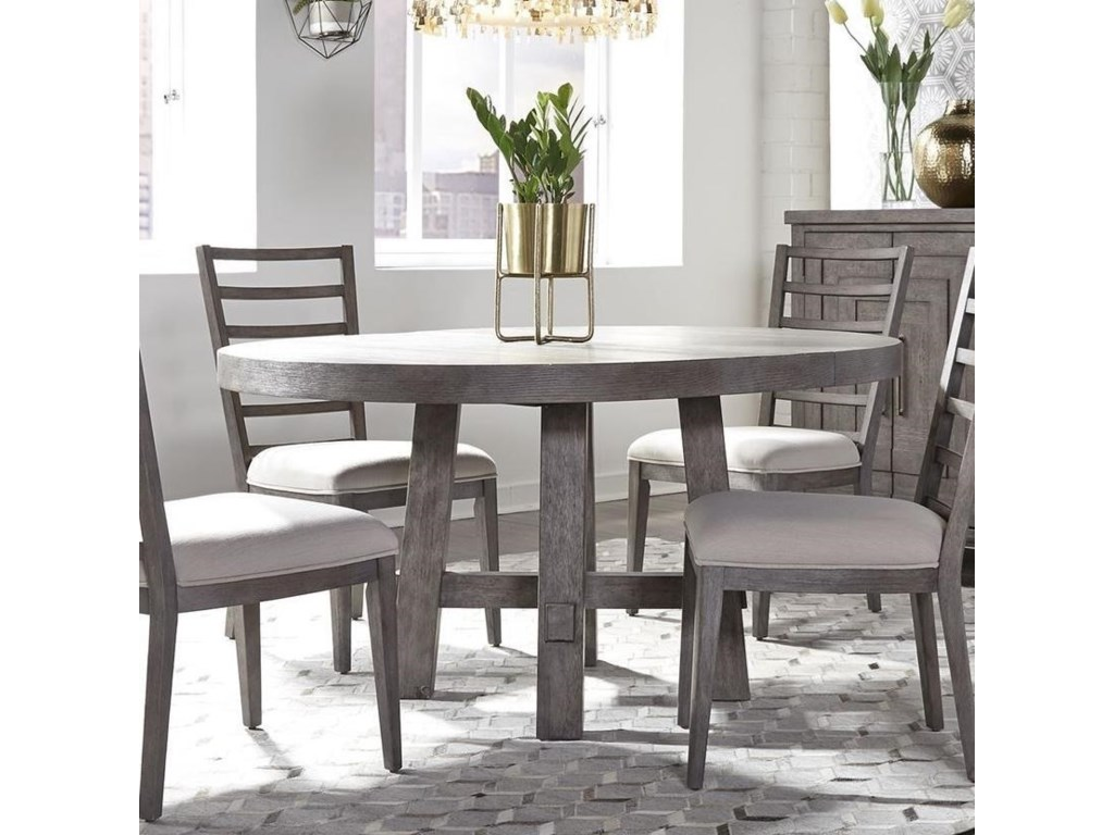 Liberty Furniture Modern Farmhouse Contemporary Round Dining Table With 12 Removable Leaf Wayside Furniture Kitchen Tables