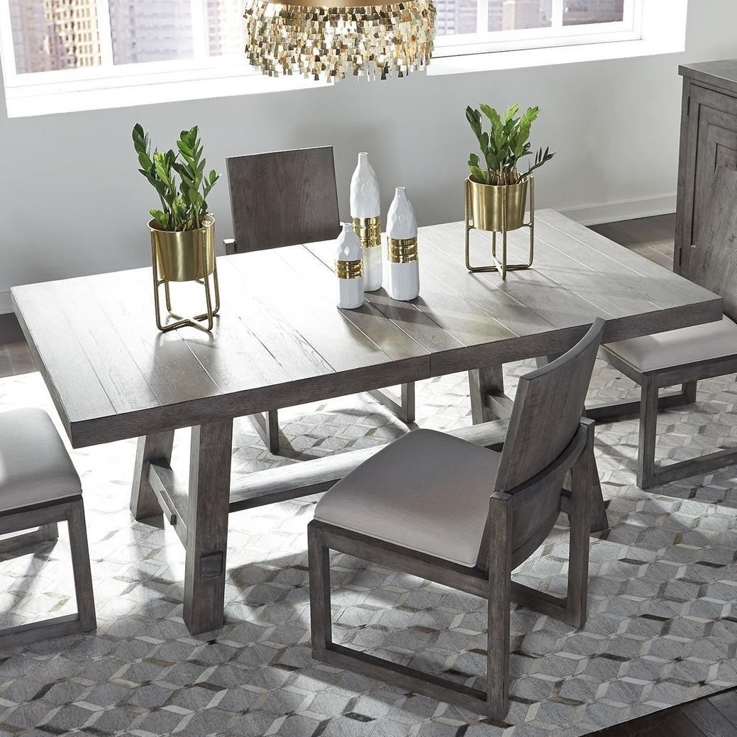 Picture of: Liberty Furniture Modern Farmhouse Contemporary Trestle Table With 20 Removable Leaf Royal Furniture Dining Tables