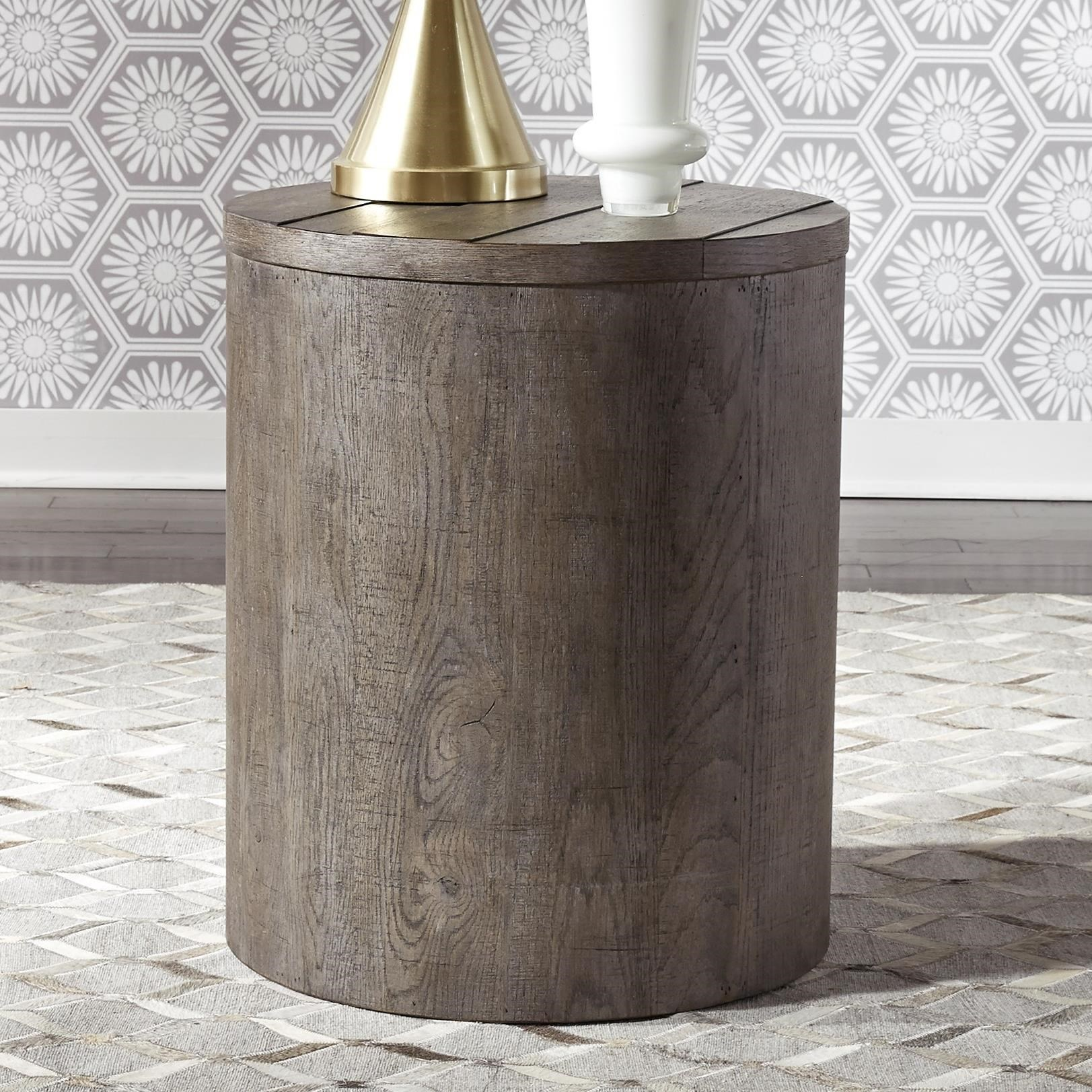 Contemporary Round Drum End Table