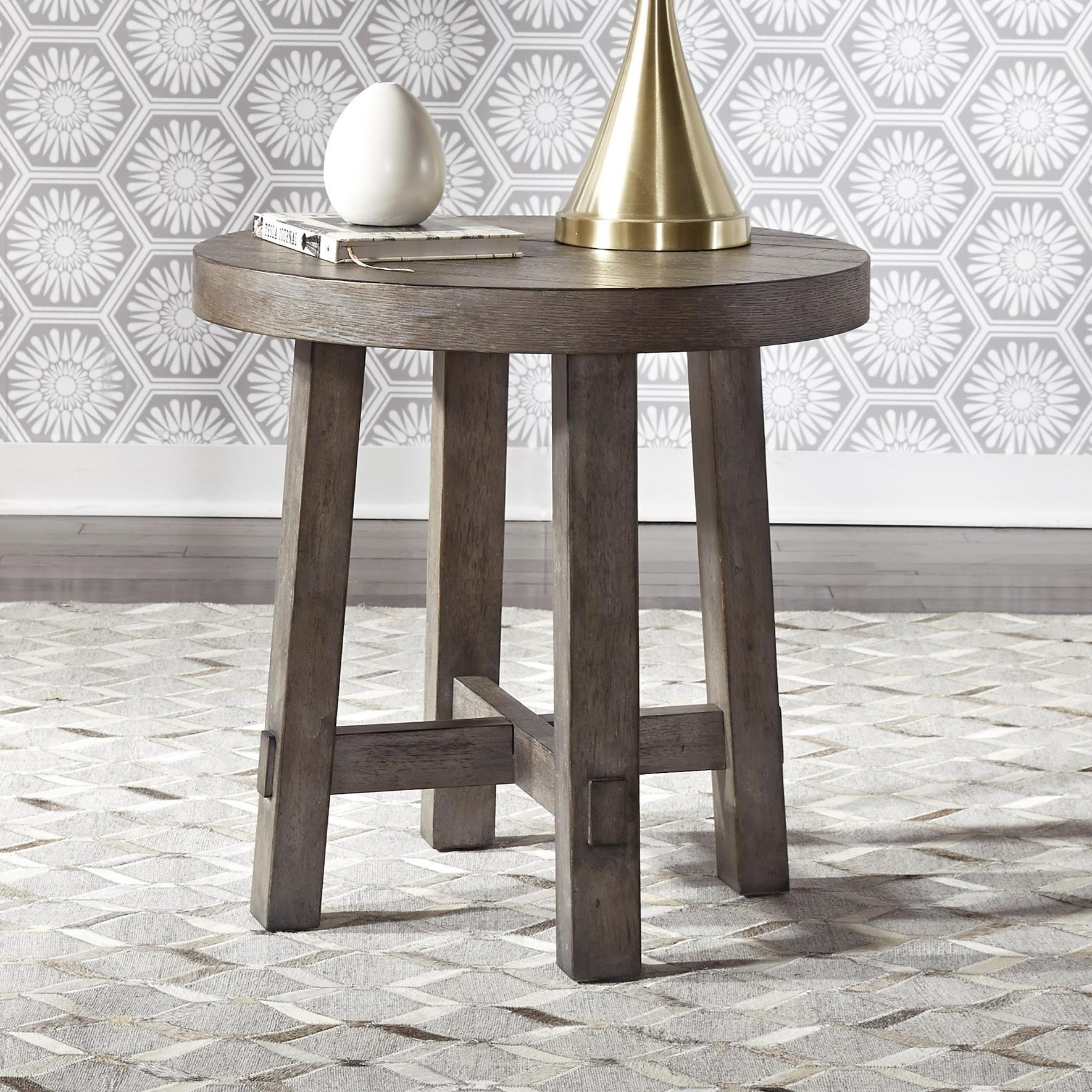Liberty Furniture Modern Farmhouse Contemporary Splay Leg Round End Table Royal Furniture End Tables