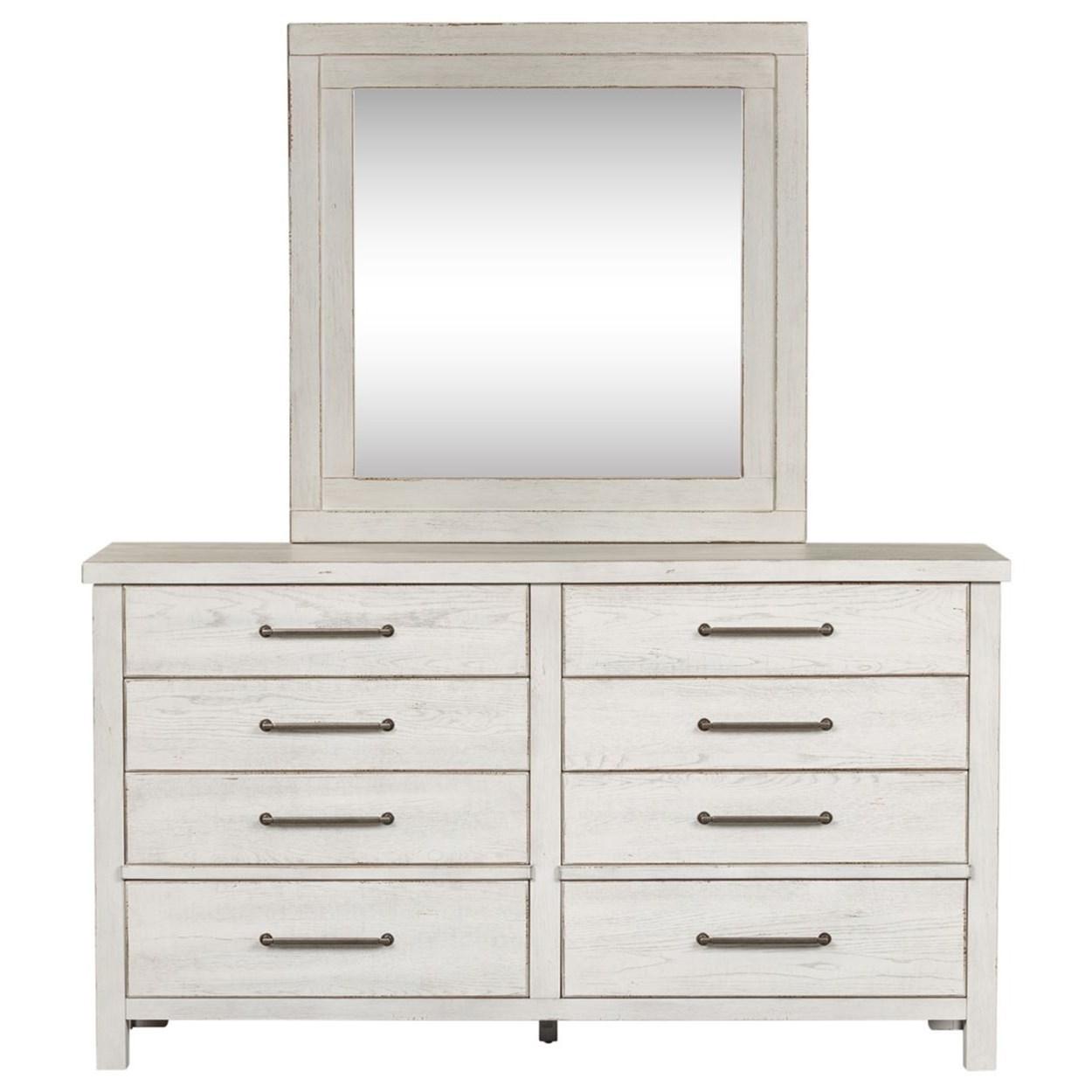 Contemporary 8-Drawer Dresser and Mirror Set