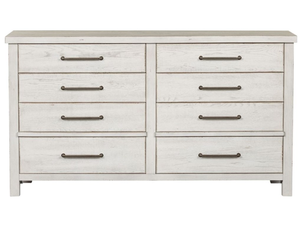Liberty Furniture Modern Farmhouse Contemporary 8 Drawer Dresser With Felt Lined Top Drawers Wayside Furniture Dressers