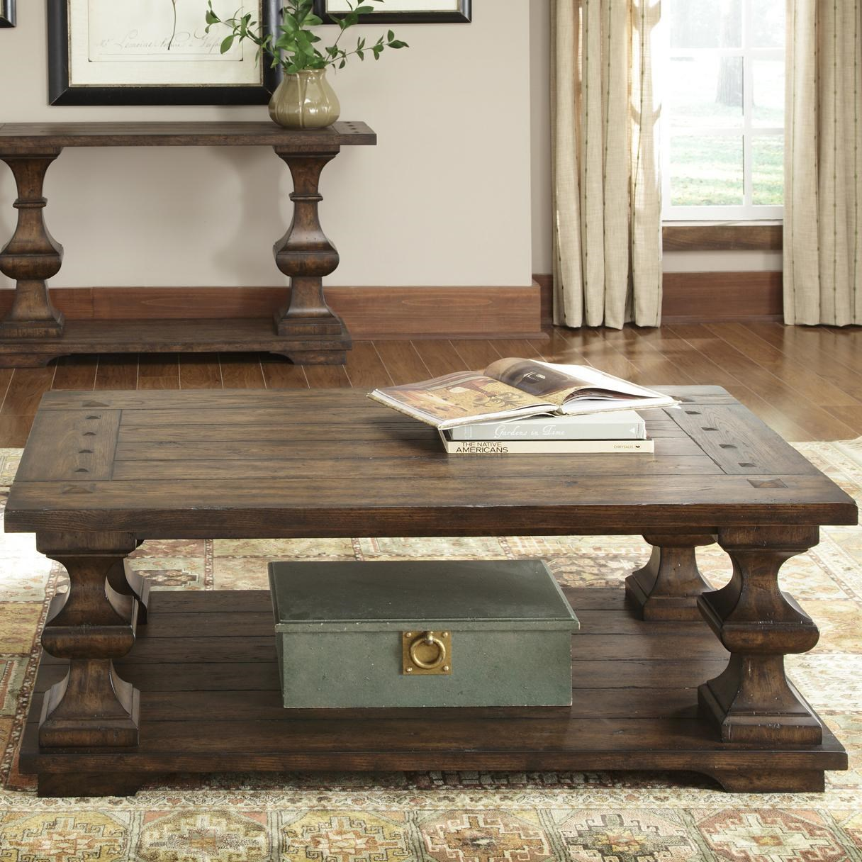 Ordinaire Liberty Furniture Sedona Rectangular Cocktail Table With Bottom Shelf And Turned  Legs