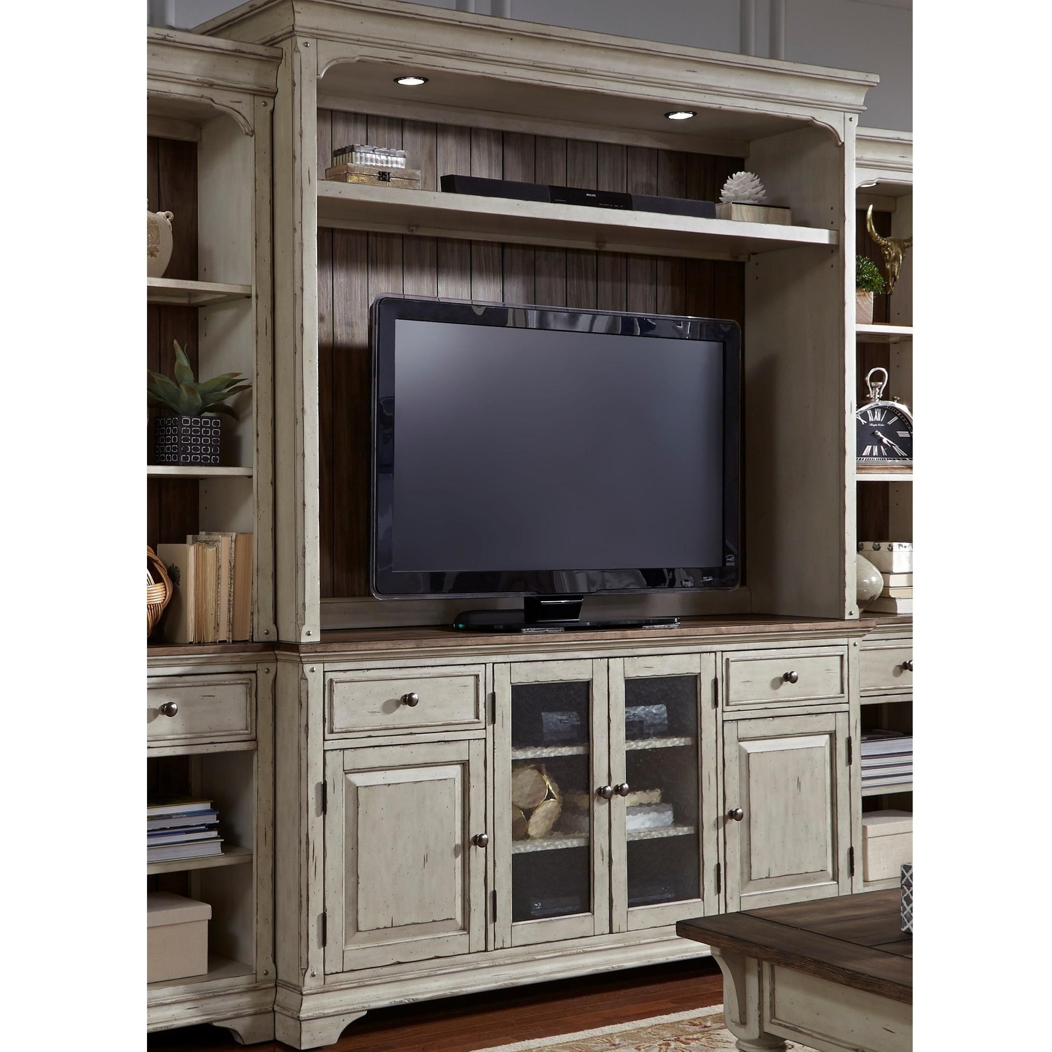 Liberty Furniture Morgan Creek Relaxed Vintage Entertainment Center With Adjustable  Wood Shelves