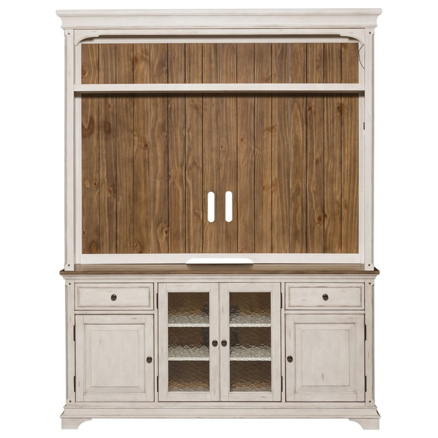Relaxed Vintage Entertainment Center with Adjustable Wood Shelves