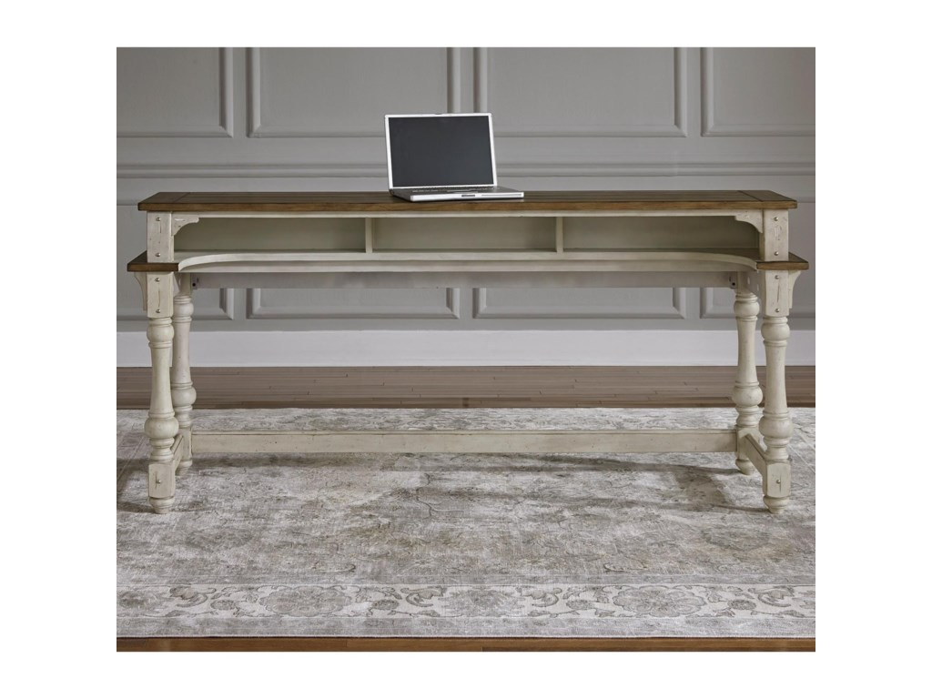 Morgan creek relaxed vintage console table with storage by liberty furniture