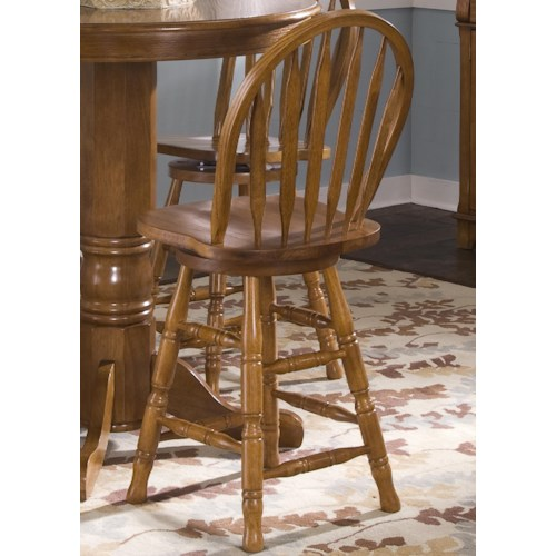 Liberty Furniture Nostalgia  Mission 24 Inch Arrow Back Barstool