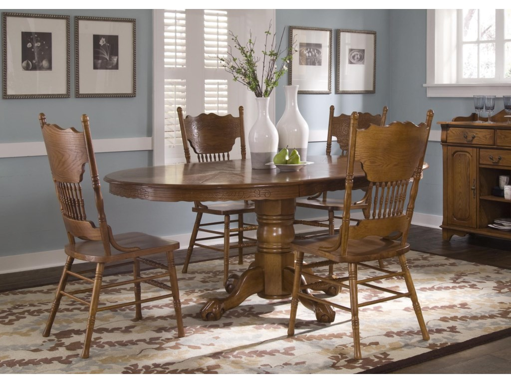 Double Press Back Side Chair Shown with Oval Pedestal Table