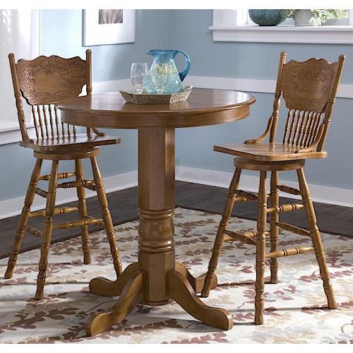 Liberty Furniture Nostalgia  3-Piece Round Pub Table Dining Set