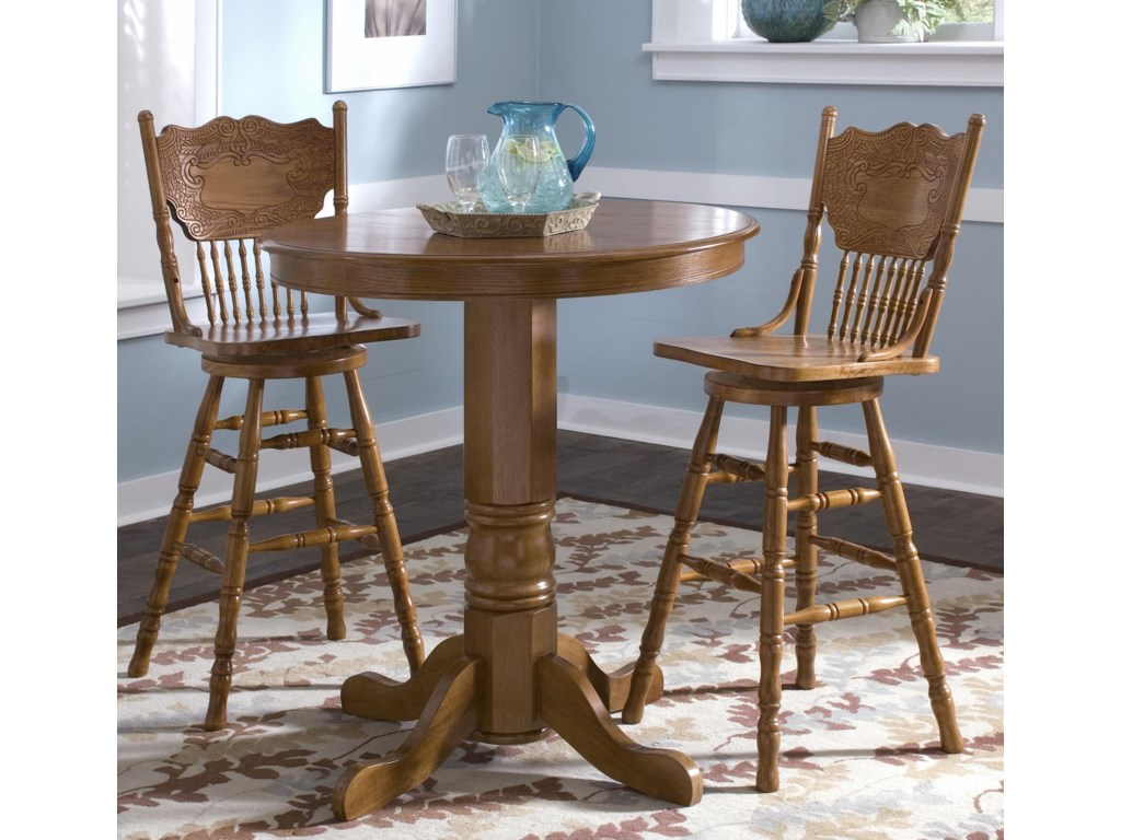Liberty Furniture Nostalgia Round Pub Table with 2 Press Back Barstools