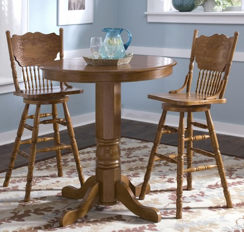 Liberty Furniture Nostalgia  3-Piece Round Pub Table Dining Set