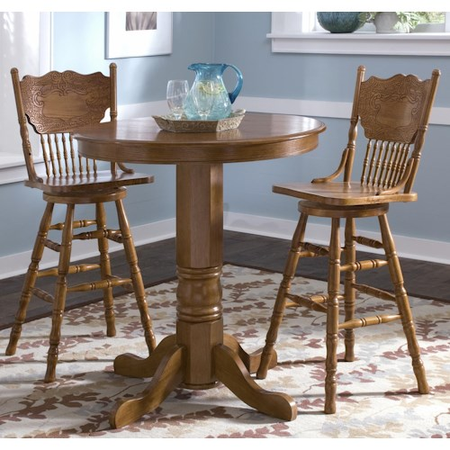 Liberty Furniture Nostalgia 3 Piece Round Pub Table Dining Set