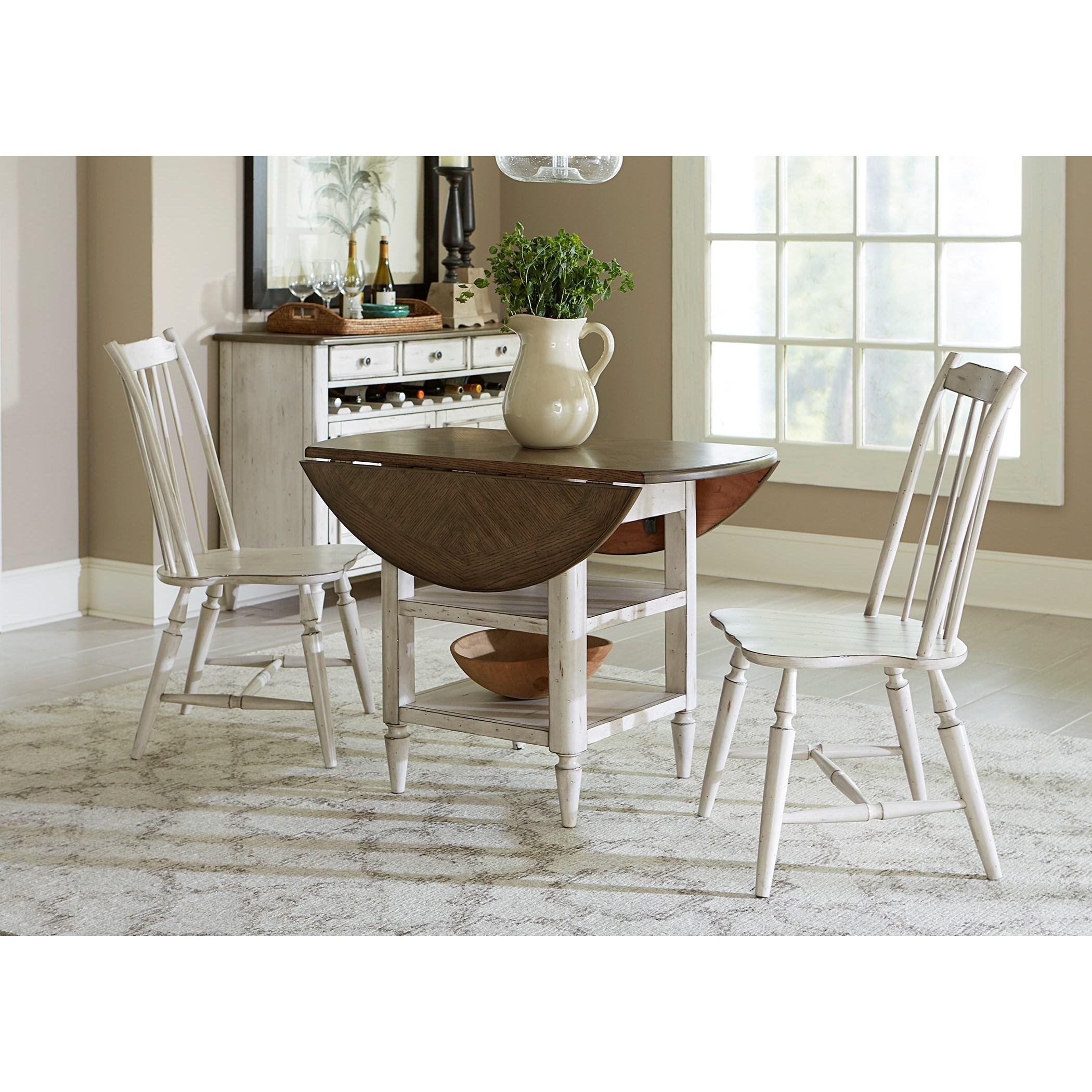 Liberty Furniture Oak Hill Dining 3 Piece Drop Leaf Table Set