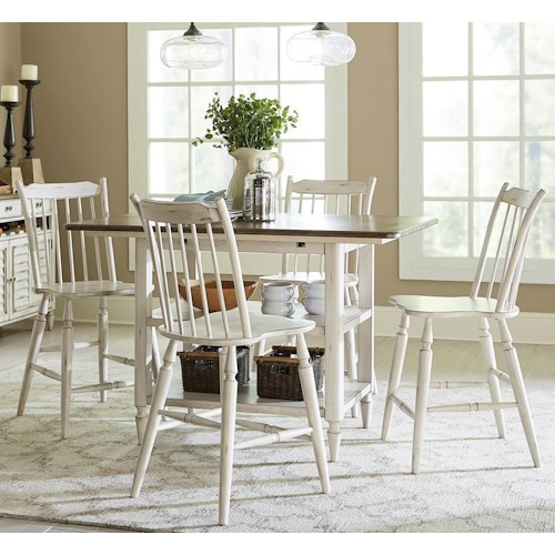Liberty Furniture Oak Hill Dining 5 Piece Gathering Table and Counter Height Chair Set
