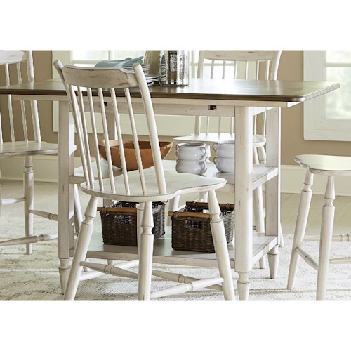 Liberty Furniture Oak Hill Dining Center Island Table with Storage