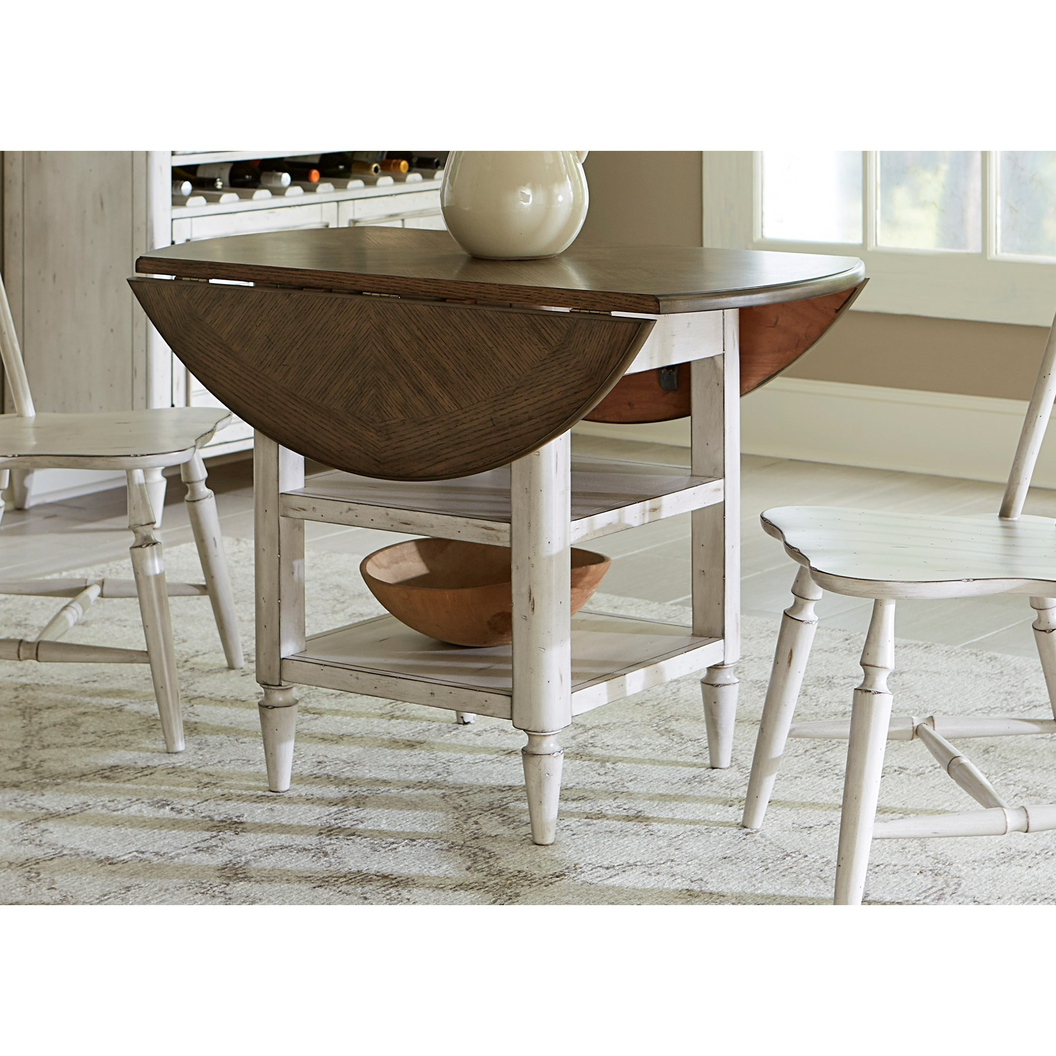 Elegant Liberty Furniture Oak Hill Dining Drop Leaf Table With Storage   Adcock  Furniture   Kitchen Table