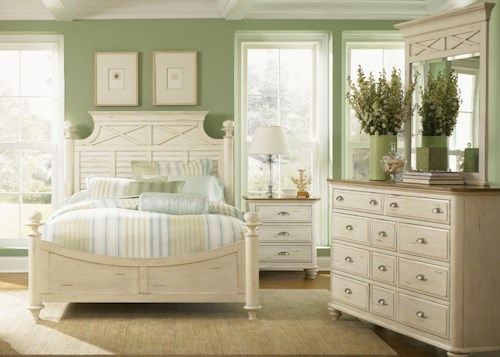 Liberty Furniture Ocean Isle  Queen Poster Bed, Dresser, Mirror, & Nightstand