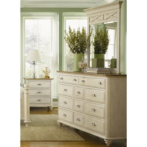 Liberty Furniture Ocean Isle  11 Drawer Dresser & Mirror Combo