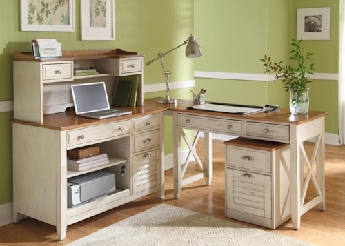 Liberty Furniture Ocean Isle  Complete L Shape Desk with Hutch, Credenza, and Writing Desk