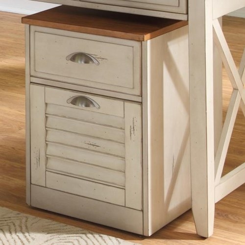 Liberty Furniture Ocean Isle  Mobile File Cabinet with Two Drawers and Drawer Locks