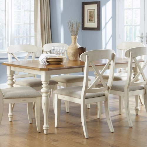 Liberty Furniture Ocean Isle  Rectangular Leg Dining Table with 18-Inch Leaf
