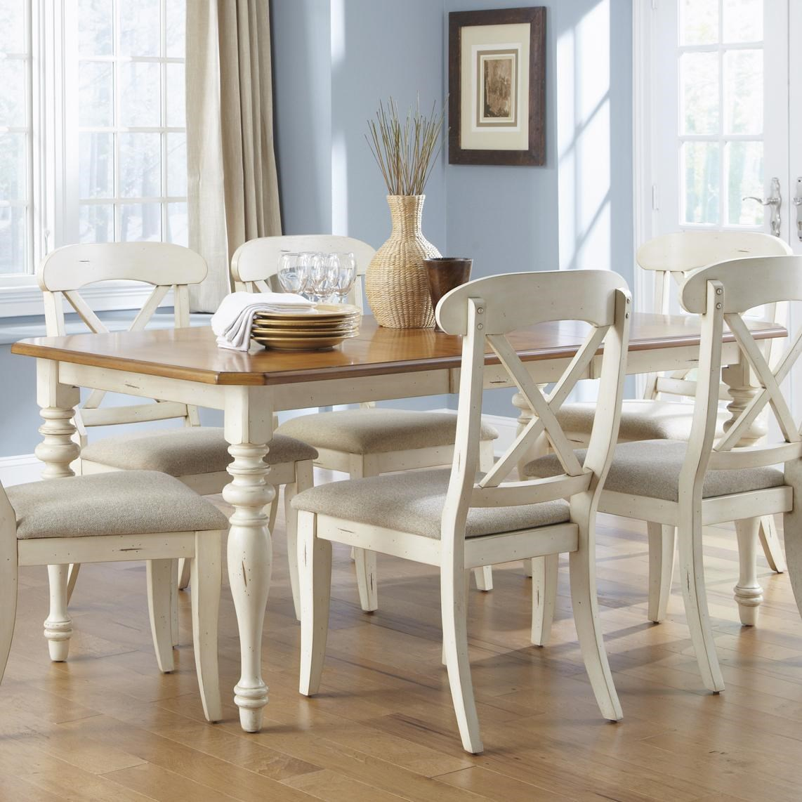Liberty Furniture Ocean Isle Rectangular Leg Dining Table With 18 Inch Leaf
