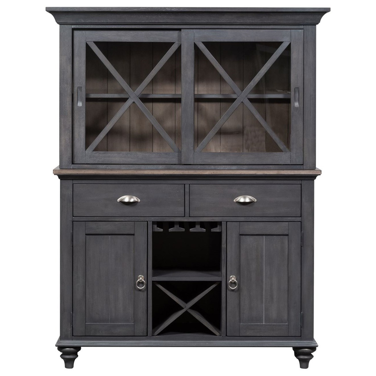 Cottage Style Hutch and Buffet with Touch Lighting