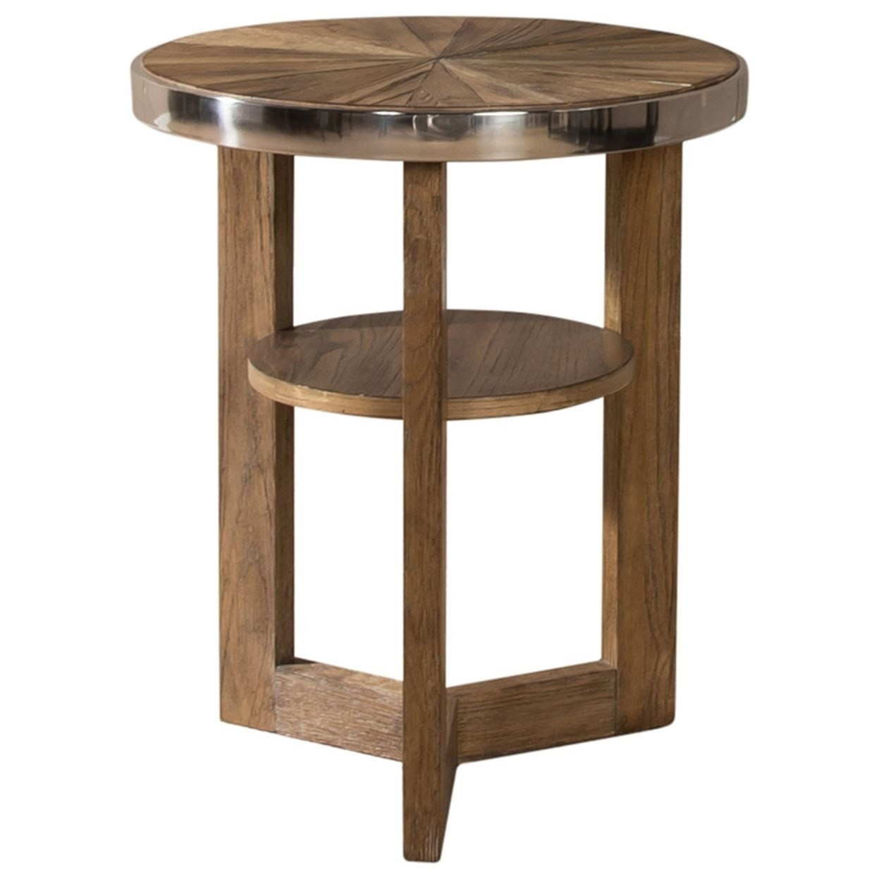 Round Chair Side Table with Sunburst Top and 1 Shelf