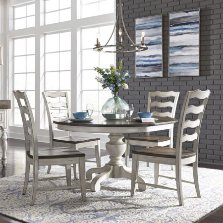 5-Piece Pedestal Table Set