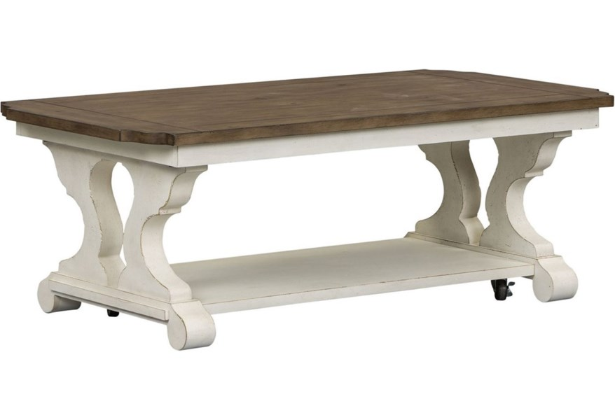 East Brooke Parisian Marketplace Cottage Style Cocktail Table With Casters Sprintz Furniture Cocktail Coffee Tables