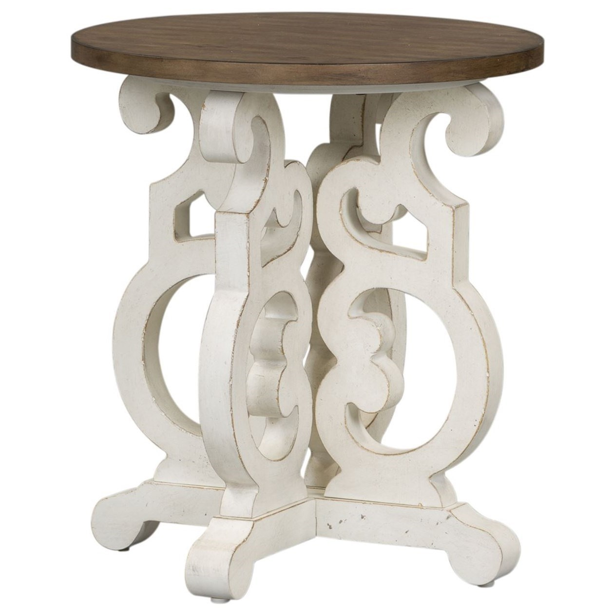 Liberty Furniture Parisian Marketplace Relaxed Vintage Round End Table With  Open Design