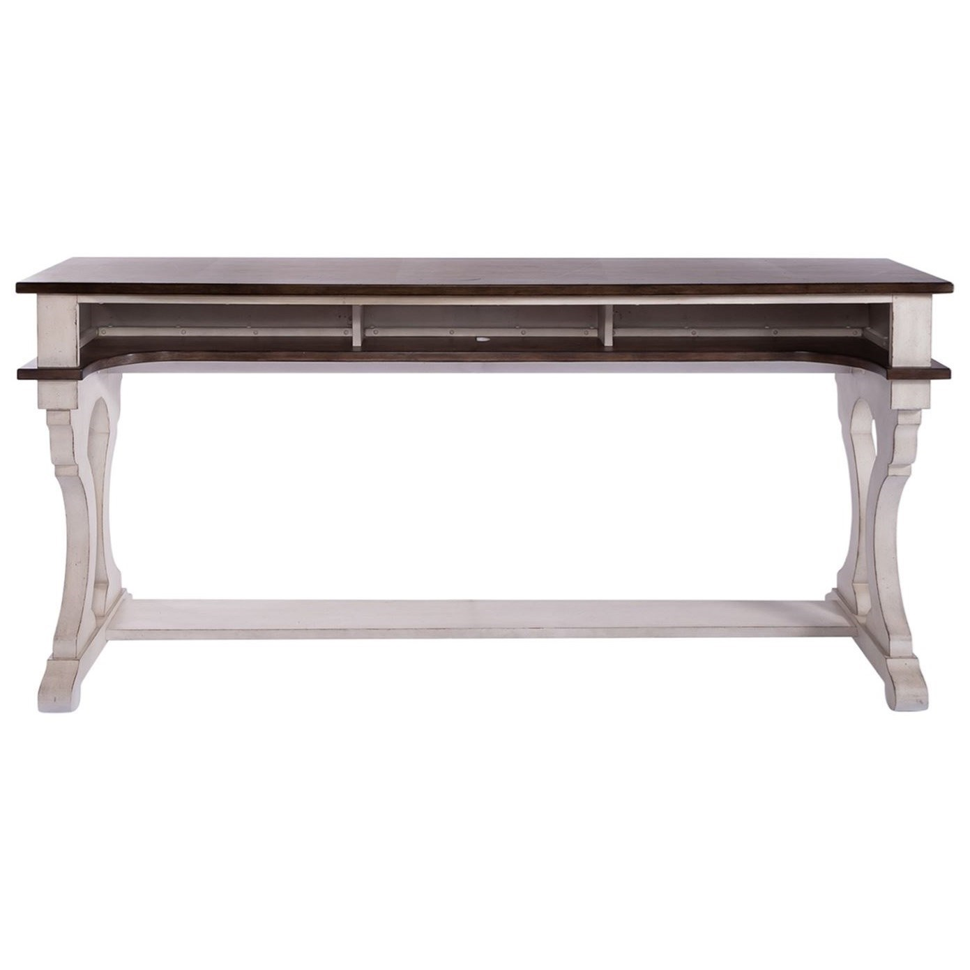 Counter Height Console Bar Table with 2 Outlets and USB Charging