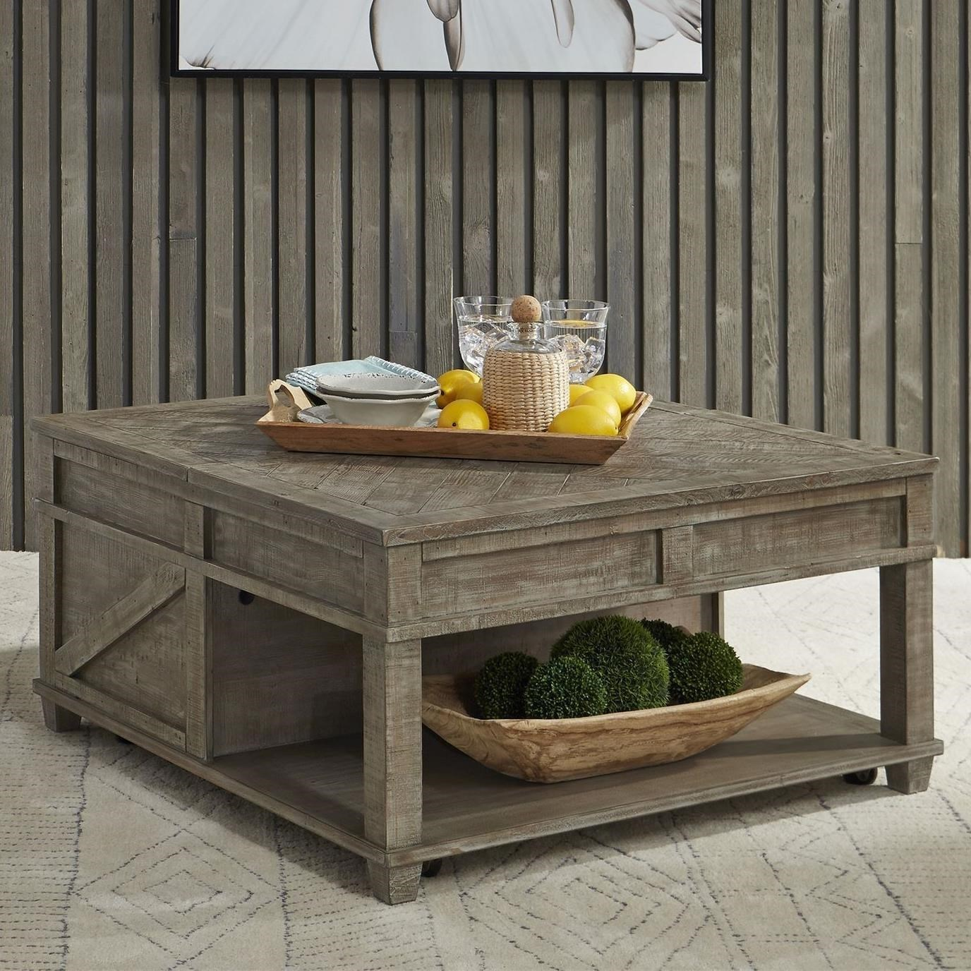 Freedom Furniture Parkland Falls Rustic Square Lift Top Cocktail Table With  Shelf Ruby Gordon Home Cocktail/Coffee Tables